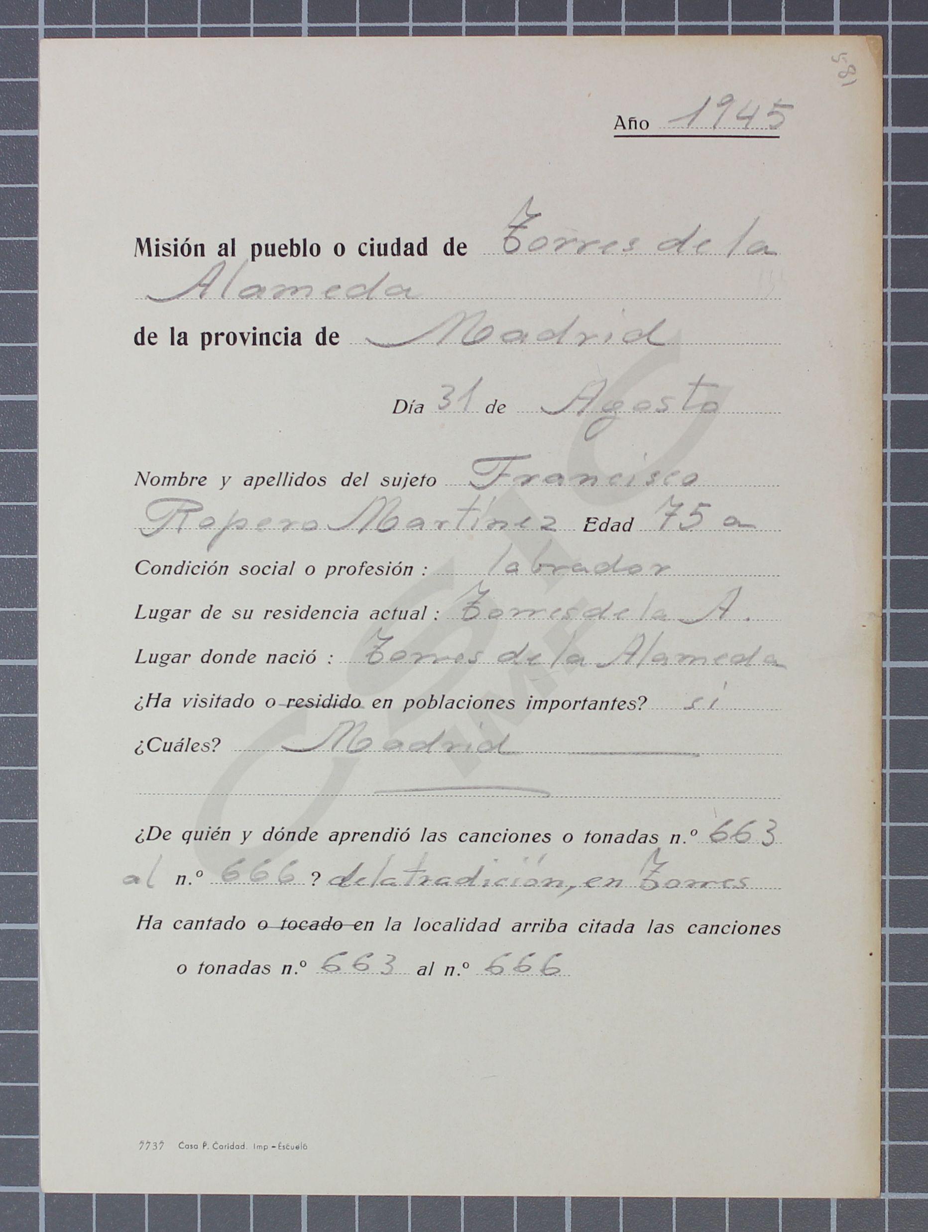 Ropero mart nez francisco fondo de m sica tradicional for Residencia torres de la alameda